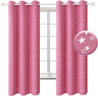 BGment Pink Star Blackout Curtains for Kid's Bedroom -...