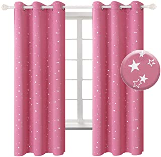 BGment Pink Star Blackout Curtains for Kid's Bedroom - Grommet Thermal Insulated Room Darkening Printed Curtains for Living Room, Set of 2 Panels (42 x 63 Inch, Pink)