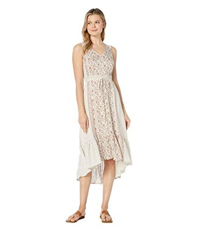 Lucky Brand Border Print Felice Dress (Natural Multi) Women