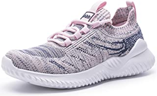 أحذية التنس النسائية من Akk برباط أحذية رياضية خفيفة الوزن رياضية لياقة بدنية رمادية - وردي مقاس 10