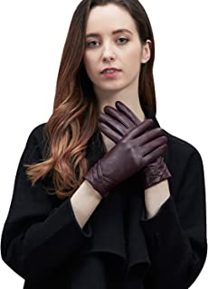 GSG Gifts Womens Leather Gloves Touchscreen Driving Fashion Warm Ladies Gloves Winter Pleat Spain Nappa
