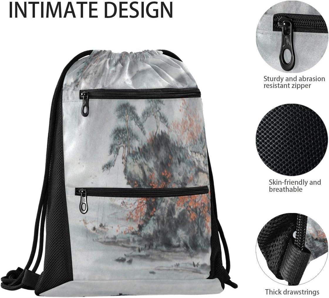 Drawstring Backpack Bag for Men Women With Pockets for Teen Boys Girls Time For Travel Eiffel Tower
