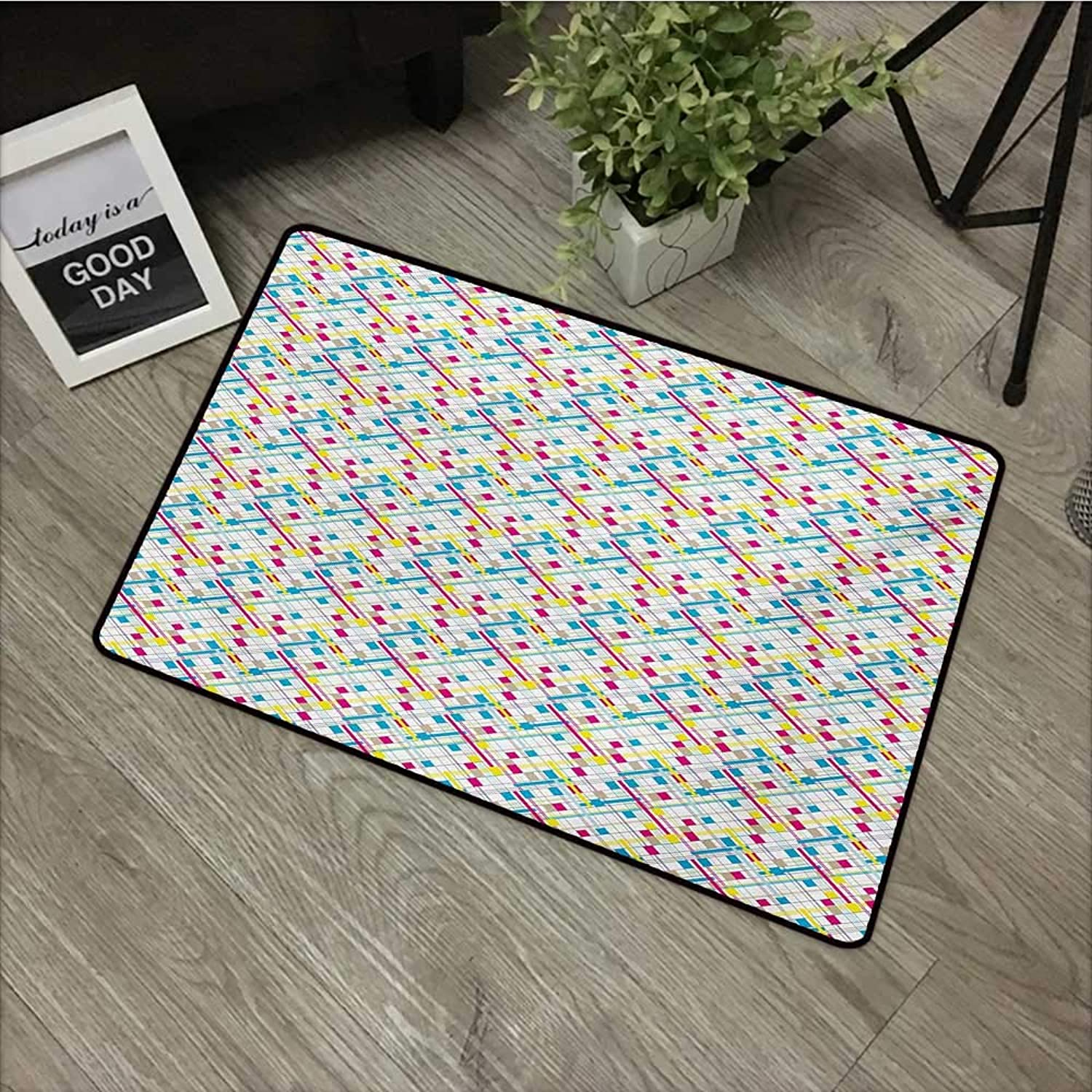 Bathroom Door mat W35 x L59 INCH Abstract,colorful Square Line and Stripe Cubism Inspired Grid Style Background Rectangles,Multicolor Non-Slip, with Non-Slip Backing,Non-Slip Door Mat Carpet