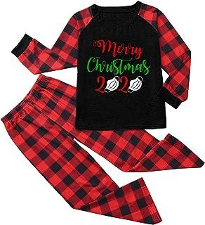 Pijama Familiar de Navidad Invierno 2020 Disfraz Navidad Divertidos Ropa de Dormir Camiseta Manga Larga y Pantalones Matching Christmas Pajamas