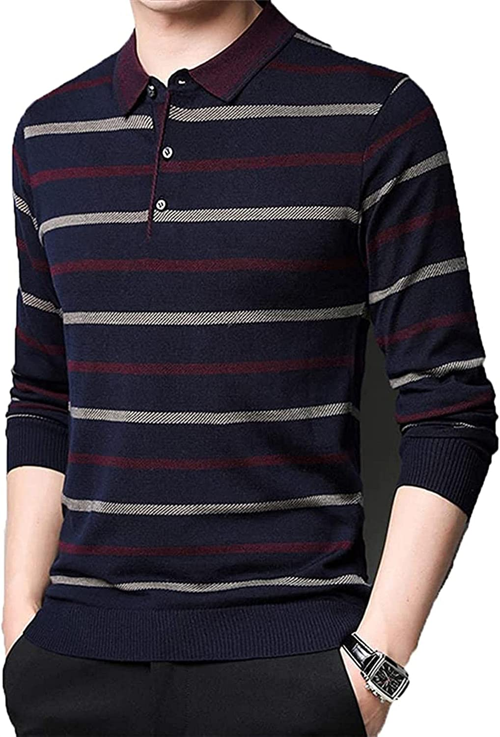 JOAOL Men Striped Sweaters Clothes Streetwear Turn-Down Collar Pullover Clothing