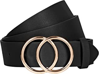 Women Leather Jeans Belt for Pants, Ladies Plus Size Waist Belts Double Ring Buckle