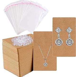Earring Cards for Display, Shynek 200 Pcs Earring Holder Cards Earring Packaging Jewelry Display Cards with 400 Earring Ba...