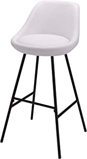 BHG Contemporary 29-Inch Synthetic Faux Leather Cushioned Steel Metal Barstool Seat (White)