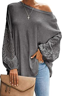 Aleumdr Womens Batwing Sleeve Pullover Oversized Hollow Out Knitted Sweater Jumper Tops