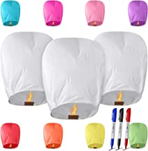 All Natural Shop 11 Pack Chinese Lanterns to Release in Sky Prime - 100% Biodegradable, Eco Friendly & Wire-Free Paper Japanese Lantern for Weddings, Birthdays, Memorials & More! (Multi Color)