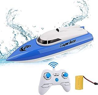 STOTOY Barco RC, Barco de con Control Remoto para Piscinas y Lagos, Mini Lancha Eléctrica de 2.4G HZ para Niños y Adultos,...