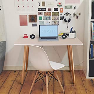 Casual Home Ezly Mid-Century Style Wooden Desk, Two-Tone (White,Natural)