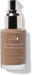 100% PURE Water Foundation (Fruit Pigmented), Neutral 4.0, Full Coverage, Semi-Dewy Finish, For Normal, Dry Skin (Neutral w/Peachy Undertones for Tan Skin) - 1 Fl Oz