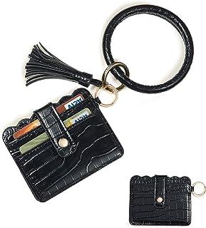 Cebostin Large Circle Key Ring Bangle - 2 in 1 PU Leather Card Holder with Round Bracelet Keychain for Women Girls Black