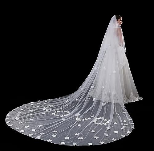 ZHANG33 Braut Schleier ZWeißier Kathedrale Schleier Cut Edge Brautkleider Zubeh Long Trailing Lace Blaumen   5 Meter