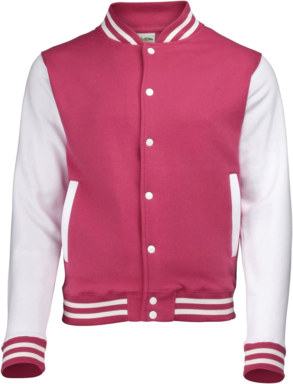 AWDis Hoods Varsity Letterman jacket Hot Pink / White L