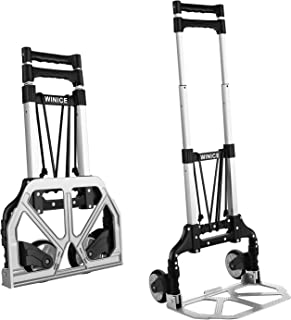 Folding Hand Truck Dolly Cart Transport Trolley with Adjustable Handle and Elastic Ropes for Home, Office