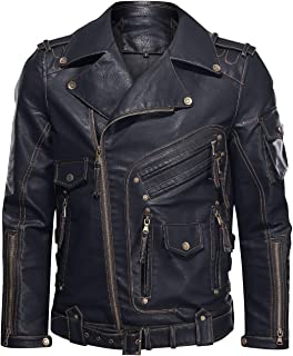 Men's Faux PU Leather Jacket Slim Fit Biker Jacket with Zipper Pockets for Motorcycle, Biking, Black