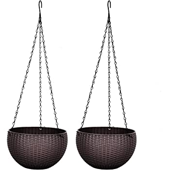 Rocinha Hanging Planters for Indoor Plants, 2 Pack Hanging Pot with Chain for Planter and Flowers (Coffee)