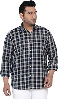 JOHN PRIDE Plus Size Men Long Sleeves Checked Navy Blue Cotton Casual Shirt