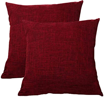 WEIXINHAI Toile de Coussin Taie d'oreiller décorative 2 Pack - 55 x 55cm Taie d'oreiller carrée,décorative,Fait à la Main avec Fermeture à glissière Invisible pour