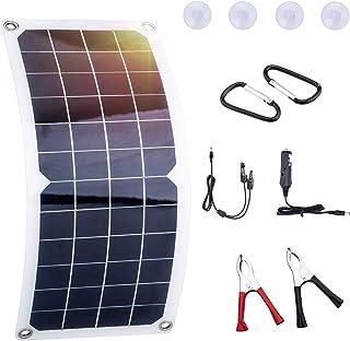 LESOLEIL Solarpanel Erhaltungsladegerät Autobatterie Netzunabhängig   Polykristallin 12 Volt 10 Watt mit Krokodilklemme Adapter Backup für Auto Boot Wohnmobil