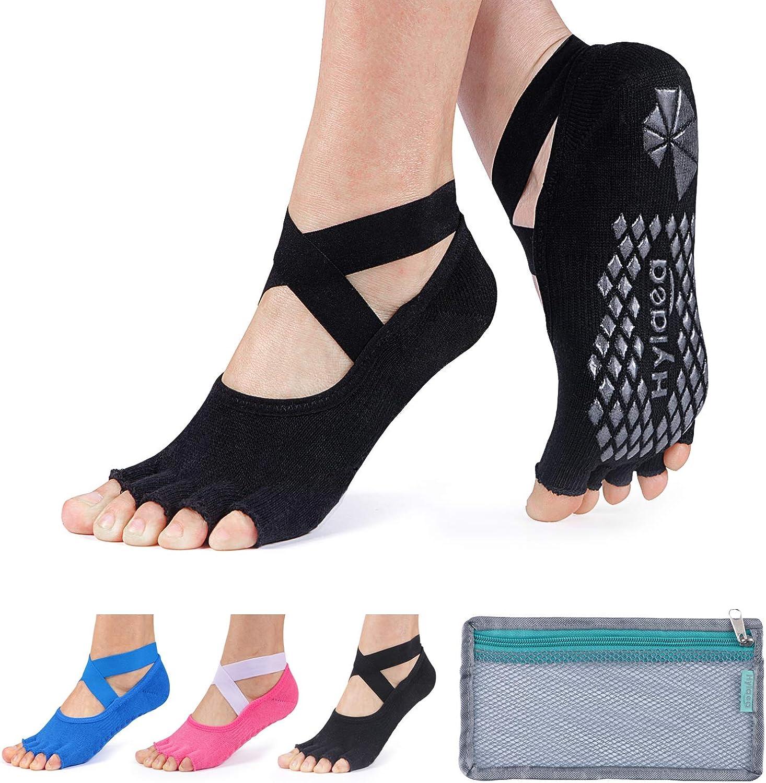 Hylaea Yoga Socks for Women with Grip & Non Slip Toeless Sock for Ballet, Pilates, Combed Cotton