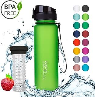 "Water Bottle ""uberBottle"" - 17 22, 34oz, 500ml, 650ml, 1 liter | Leak-Proof Sports Bottles | School, Fitness, Outdoor, Bike, Gym, Kids | With Fruit Filter - BPA Free Tritan | Simple 1-Click Opening"