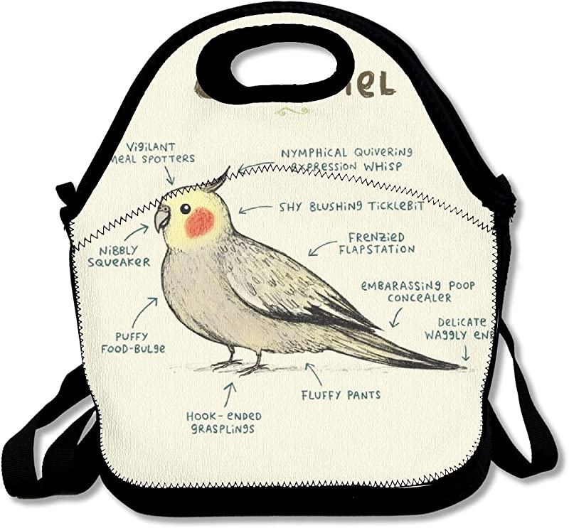 Anatomy Of A Cockatiel Neoprene Lunch Tote Bag With Shoulder Straps For Adults Women Girls School Children Suitable For Travel Picnic Office