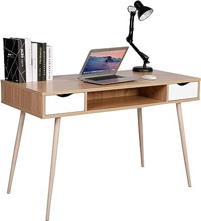 WOLTU® TSG19hei Bureau d'ordinateur Table de Bureau en métal et Bois,Table de Travail PC Table avec 2 tiroirs et 1 Compartiment Ouvert 120x58x77cm (LxPxH),Chêne