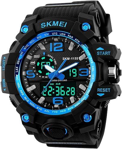 Analog Digital 1155 Blue Dial Beige Strap Looks Sports Men s Watch