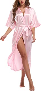WitBuy Women's Silk Robe Long Satin Kimono Robe Lightweight Bathrobe with Pockets for Bride and Bridesmaids