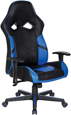 OSP Home Furnishings Vapor Ergonomic Adjustable High Back Gaming Chair, Black Faux Leather with Blue Accents
