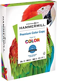 Hammermill Premium Color Copy 28lb Paper, 8.5x11, 1 Ream, 500 Sheets, Made in USA, Sustainably Sourced From American Famil...