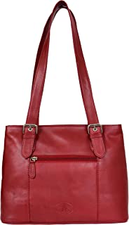 Womens Soft Leather Shoulder Casual Work Bag Ariana Red