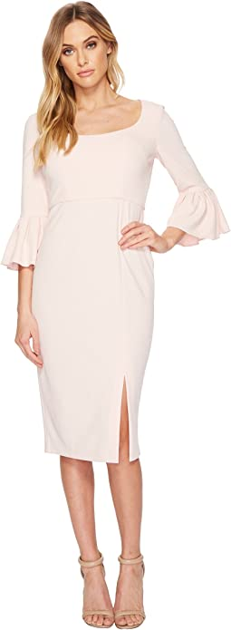 Donna Morgan - 3/4 Length Bell Sleeve Scoop Neck Crepe Sheath w/ Midi Length Skirt and Side Slit