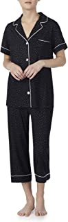 Black Soot Polka Dot 2 Piece Notch Collar Pajama Sleep Set
