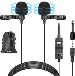 "BOYA BY-M1DM Dual Lavalier Microphones, Omnidirectional Condenser Hands Free Clip-on Lapel Mic with a 1/8"" Stereo Connecto..."
