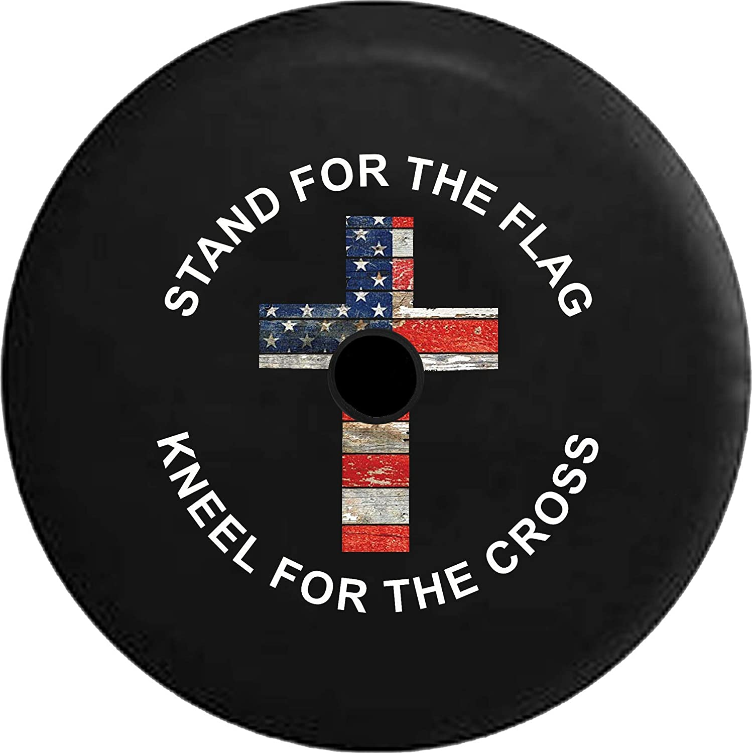 JL Spare Tire Memphis Mall 70% OFF Outlet Cover Stand The with Bac Kneel Flag Cross