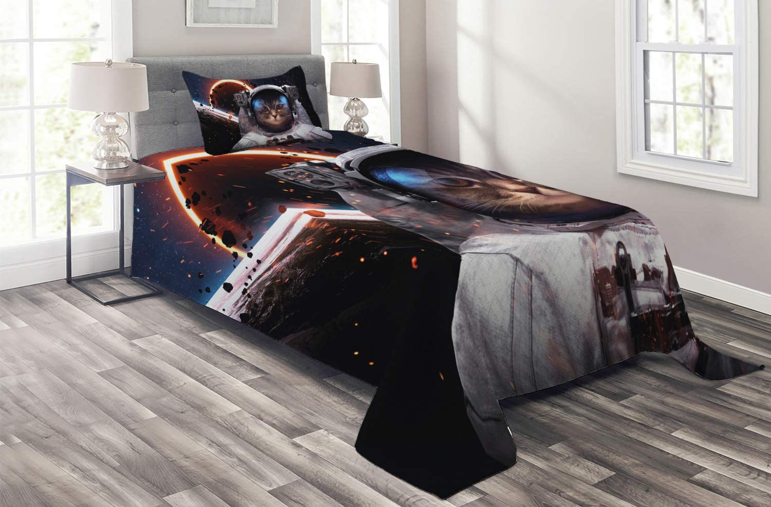 Ambesonne Space Cat Coverlet Cosmonaut Galaxy Chicago Mall Clusters Max 76% OFF Comet in