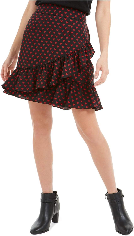 Maison Jules Womens Black Printed Short Ruffled Skirt Size L
