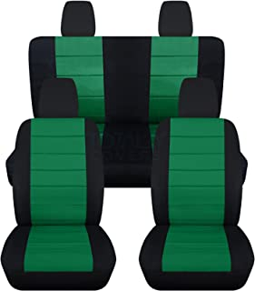 Totally Covers compatible with 2008-2012 Jeep Cherokee/Dodge Nitro Seat Covers: Black & Emerald Green - Full Set (23 Colou...