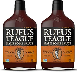 Rufus Teague TOUCH O' HEAT BBQ SAUCE – (2-Pack) 16oz Bottles – World Famous Kansas City BBQ – Kinda Hot. Kinda Not. Thick & Rich made with Premium Ingredients – Gluten-Free, Kosher & Non-GMO.