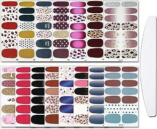 WOKOTO 15 Sheets Adhesive Nail Art Polish Stickers Tips With 1Pc Nail File Leopard Print Nail Wraps Decals Strips Set Mani...