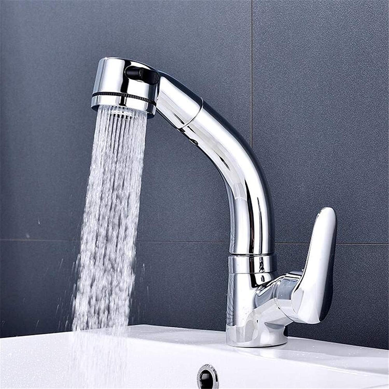 Modern Home Kitchen and Bathroom Sink Taps Copper Lifting and Pulling Basin Faucet Hot and Cold redatable Basin Faucet
