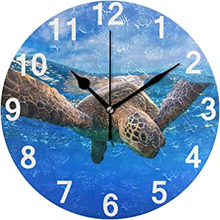 ZZKKO Beach Starfish Wall Clock, Silent Non Ticking Battery Operated Easy to Read Decorative Wall Clock for Kitchen Bedroo...