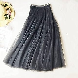 ZJMIYJ Kjolar för kvinnor - Hög midja svart chic smal A-linje midi-kjolar vår kvinnors eleganta 3 lager nät tutu kjol elas...