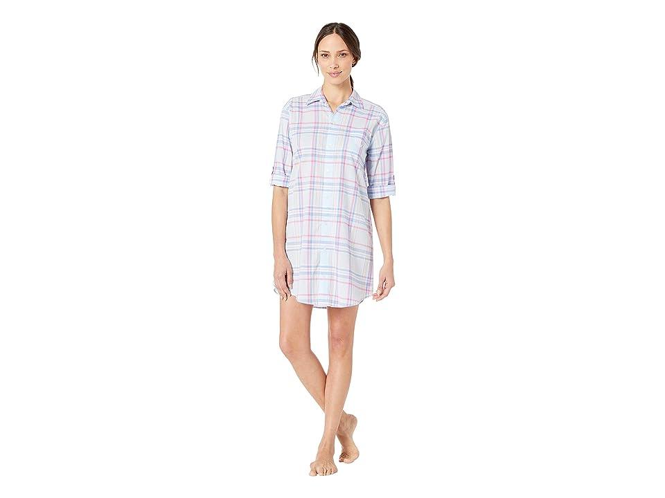 LAUREN Ralph Lauren 3/4 Sleeve His Shirt Sleepshirt (Blue Plaid) Women
