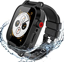 Waterproof Case for Apple Watch 44mm Series 5/4, 44mm iWatch 5 Case Full Body Protective Dropproof Armor Rugged with Watch Series 4 Soft Band Clear Back Case for Apple Watch 4/5 Series 44mm (black)