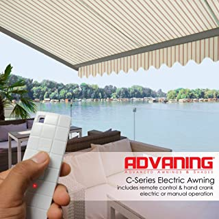 ADVANING 16'X10' Manual Patio Retractable Awning | Classic Series | Premium Quality, 100% Acrylic UV Sun Shade Awning, Color: Natural Beige Stripes, MA1610-A332H